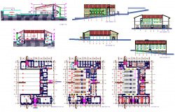 fire station building design architecture plan with elevation details