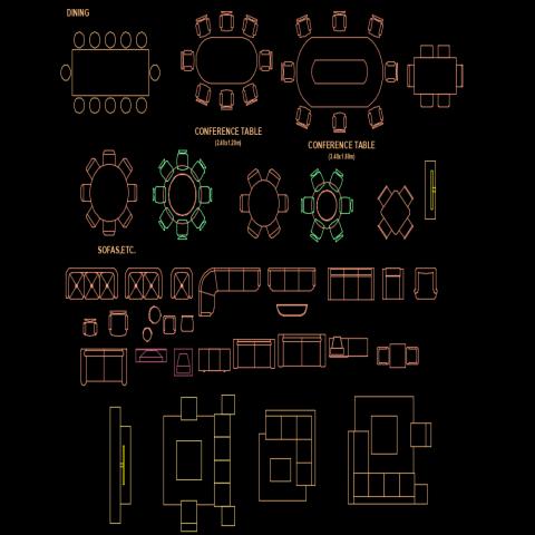 Furniture plan detail autocad file
