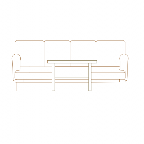 Furniture view of sofa set and coffee table with front view dwg file