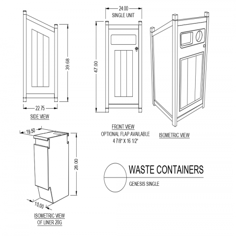 Genesis single waste container front and side view with isometric view dwg file