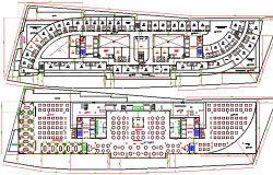 ground and first floor layout plan of baladiya hotel building dwg file