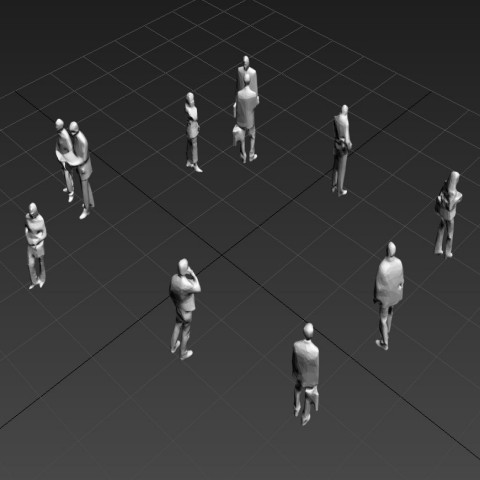 Group of People 3d model CAD blocks layout 3d max file
