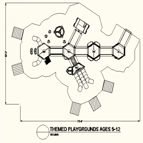 Hexagon shape theme park layout detail