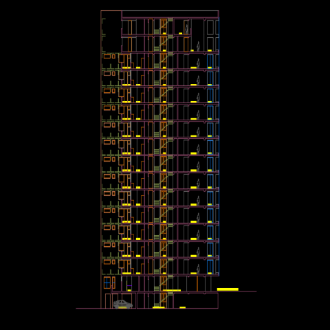 High rise building plan autocad file