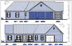 house elevation naming view detail dwg file