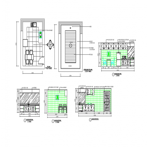 Kitchen details with interior auto-cad drawing dwg file