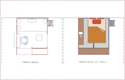 law and high plan of double bed with furniture view dwg file
