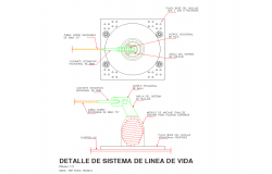life line system detail roof safe cad files