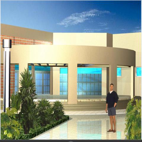 Main entrance 3d design of hospital dwg file