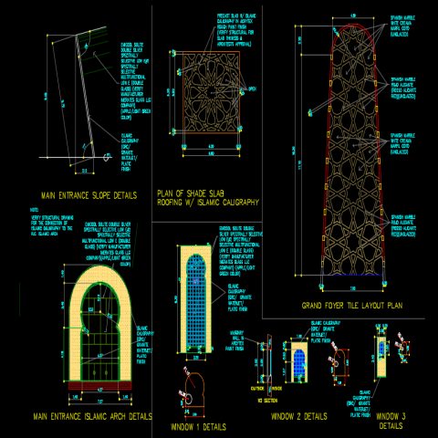 Main entrance Islamic arch elevation layout file