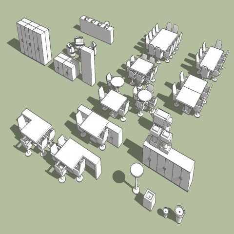 Miscellaneous hotel furniture blocks 3d drawing details skp file
