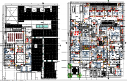 multi-flooring health center ground and first floor plan details dwg file