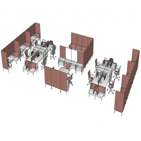 Multiple bank office desks and furniture 3d block cad drawing details dwg file