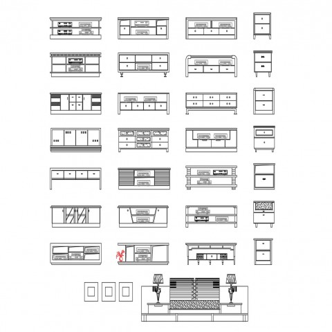 Multiple cabinets and drawer elevation blocks for hotel cad drawing details dwg file
