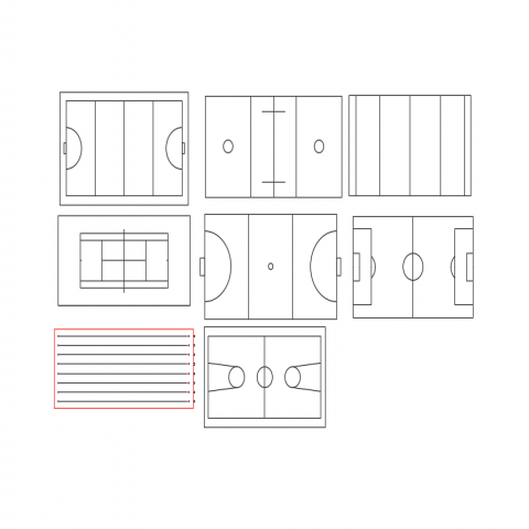 Multiple sport ground top view cad blocks design dwg file