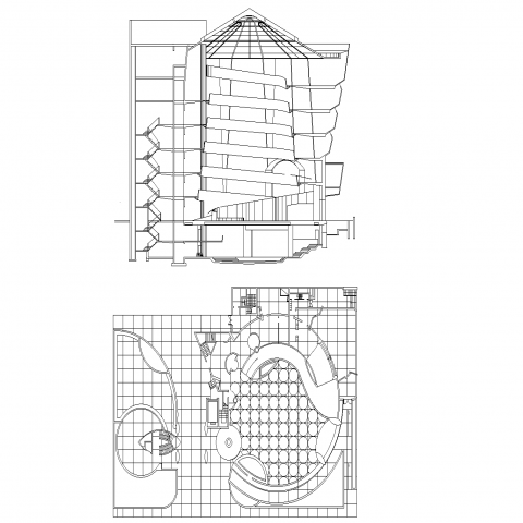 Museum-new York city plan and section detail dwg file