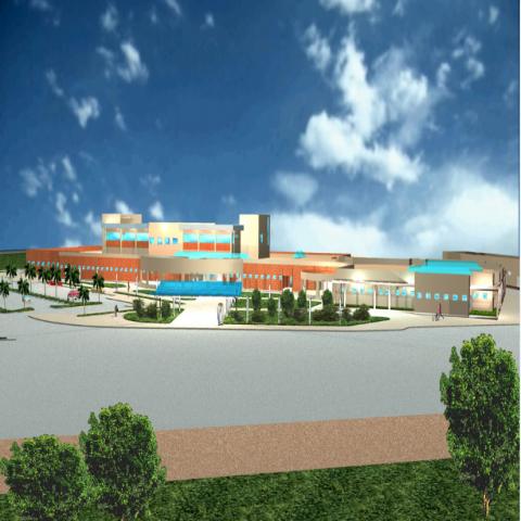 North side elevation 3d design of multi-flooring hospital dwg file