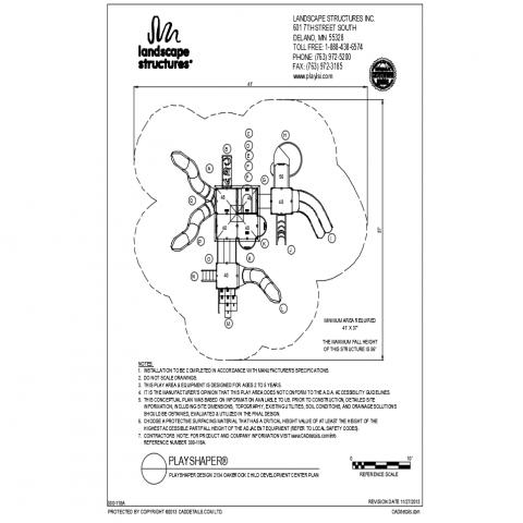 Oakbook child development center park plan and landscaping details dwg file