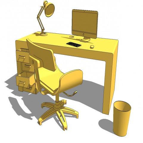 Office desk and furniture 3d blocks cad drawing details skp file