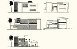 perspective view of 2 storey house with elevation and section in dwg file
