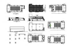 plan of auditorium hall with different sections and elevation in dwg file
