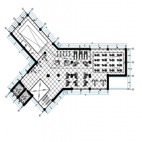 Plan of gymnasium with part of sport dwg file