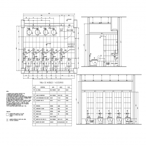 Public bath room plan and section detail dwg file