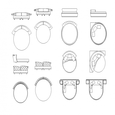 Round shape beds CAD furniture detail elevation layout autocad file
