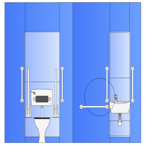 RPM toilet design with elevation dwg file