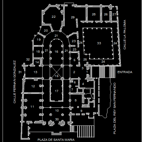 Sant Marie cathedral  church auto-cad details dwg file