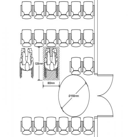 Seating area spacing detail