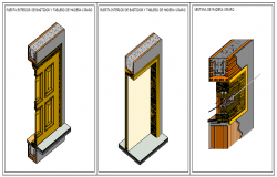 section detail of wooden doors and window design drawing