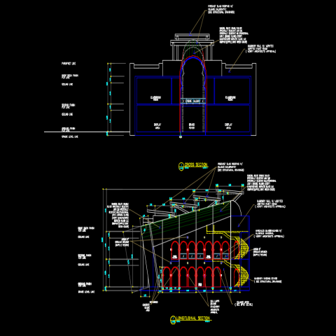 Section Islamic type museum plan dwg file