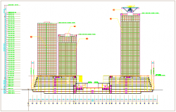 sectional elevation view of corporate building with floor view dwg file