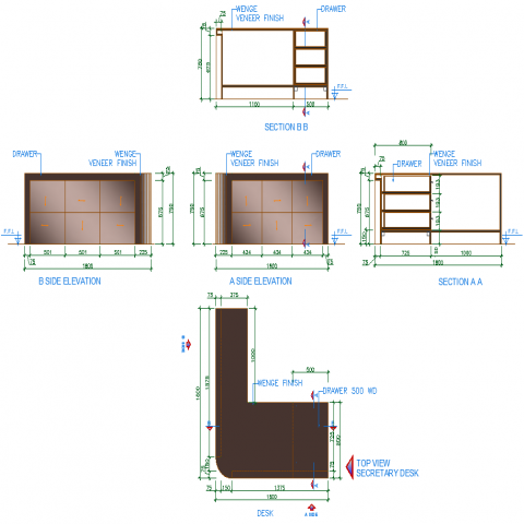 Security desk detail drawing in dwg AutoCAD file.