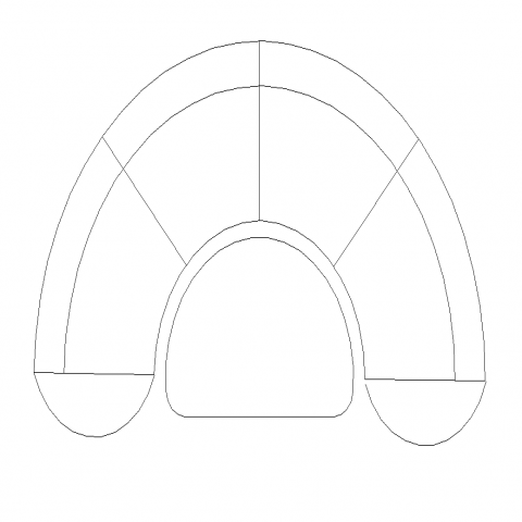 Semi-circular sofa elevation 2d view CAD furniture layout dwg file