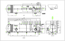 separator of crude oil in refinery detail plan and layout design, elevation view detail dwg