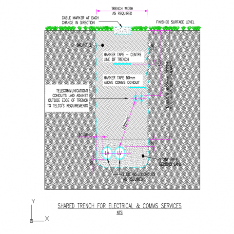 Shared trench for electrical and community services dwg file