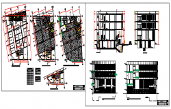 shopping center on ground level offices design drawing
