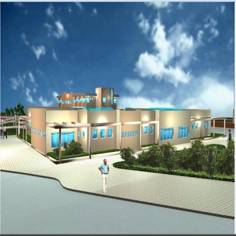 Side 3d elevation design view of multi flooring hospital dwg file