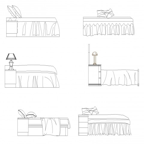 Side elevation double bed plan autocad file