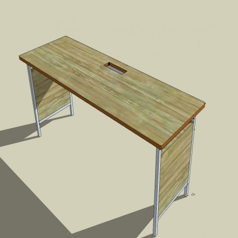 Single wooden office desk table block 3d cad drawing details skp file