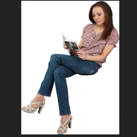 Sitting young lady 3d model layout photo file