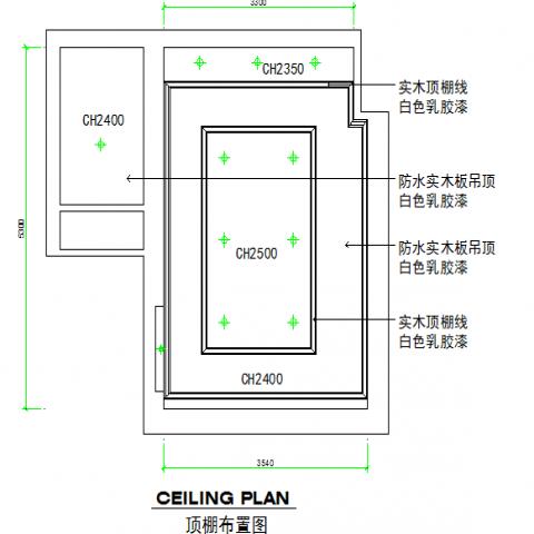 Solid wood panel bedroom ceiling plan details dwg file