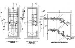staircase structure detail plans and section of a building
