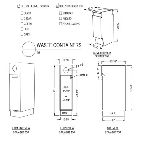 Straight design west container front and side view with isometric view dwg file