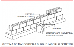 system of brick masonry cement block design drawing