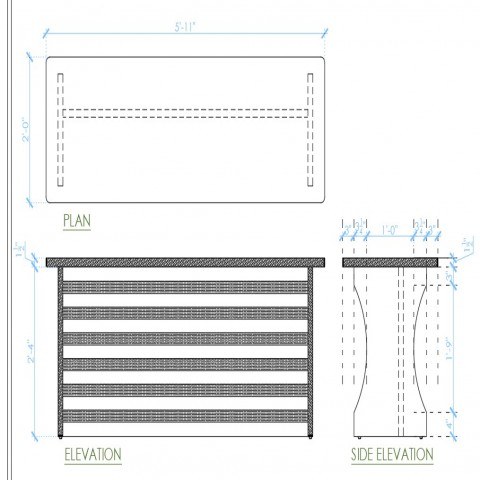 Table detail 2d view CAD furniture unit block plan and elevation autocad file
