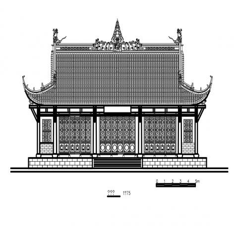 Temple pavilion front elevation cad drawing dwg file