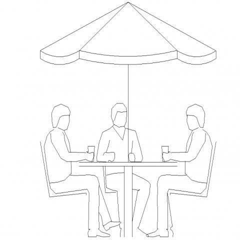 The café furniture plan detail dwg file.